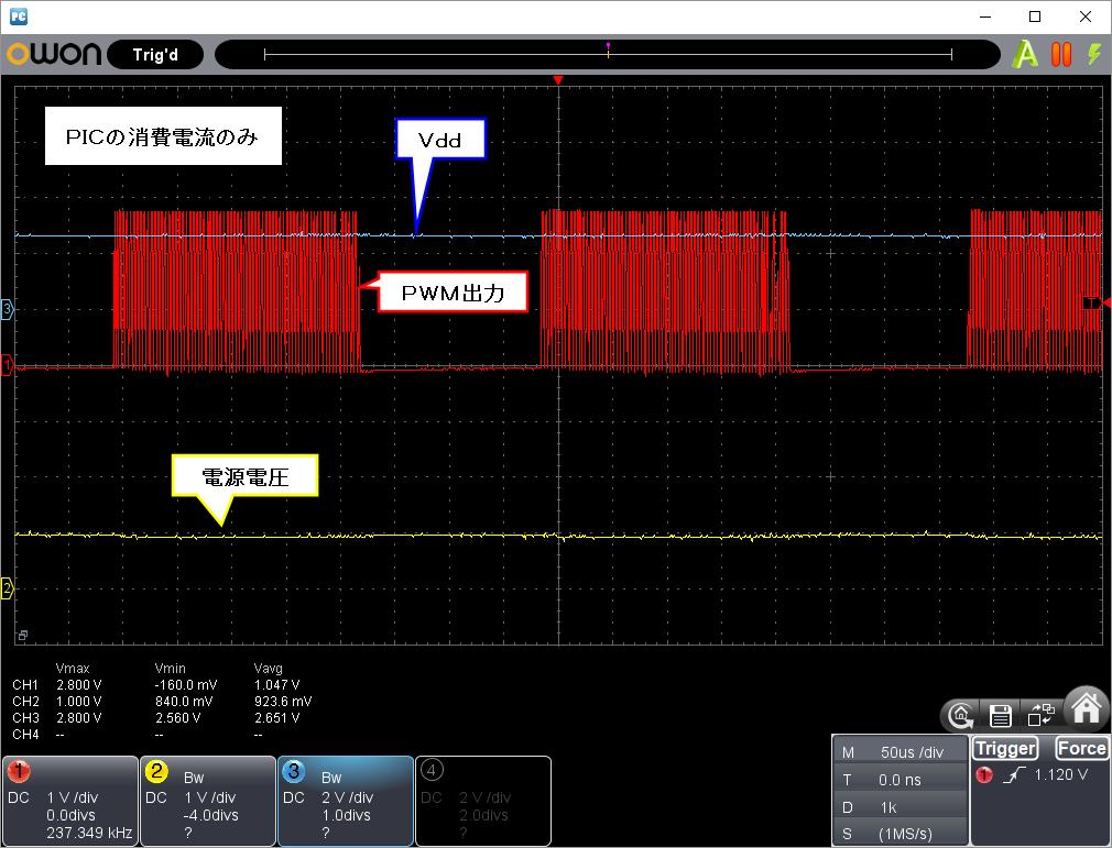 Vdd瞬低対策(昇圧式)波形負荷なし1V