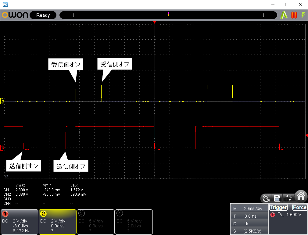 2.4GHz8chリモコンモジュール「JDY-40」の評価(遅延観測)