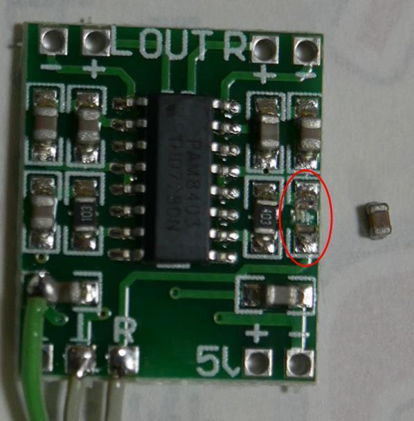 27MHz~2.4GHzRFチェッカーの不具合(ミニデジタルアンプでセラコン脱落)
