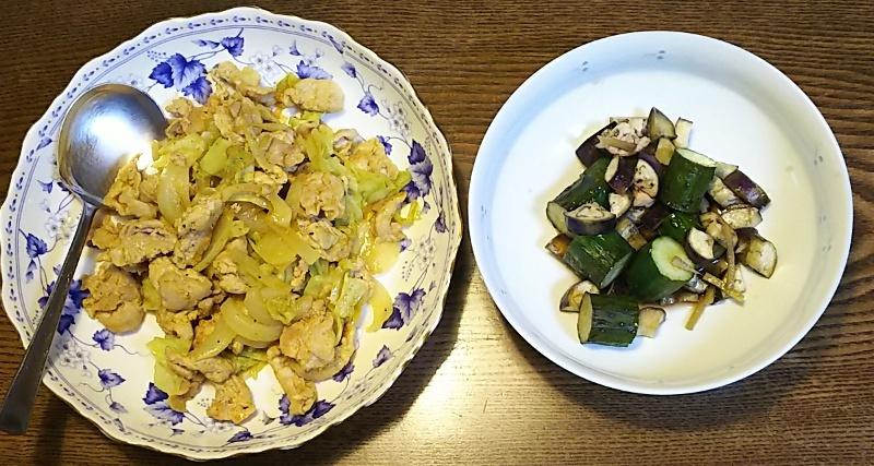 鶏カレー炒め+きゅうなす煮