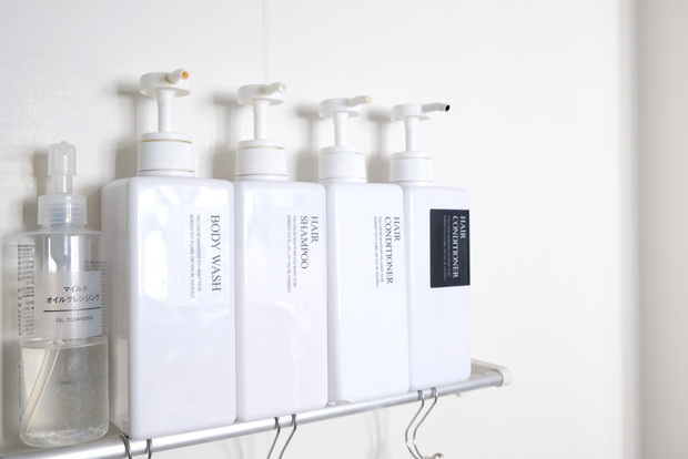 キャンドゥ×LOVEHOME3・ラベルステッカー・浴室・シャンプー収納①