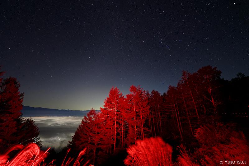 絶景探しの旅 -  1082 星空と赤く燃える木々 (甘利山/山梨県 韮崎市)