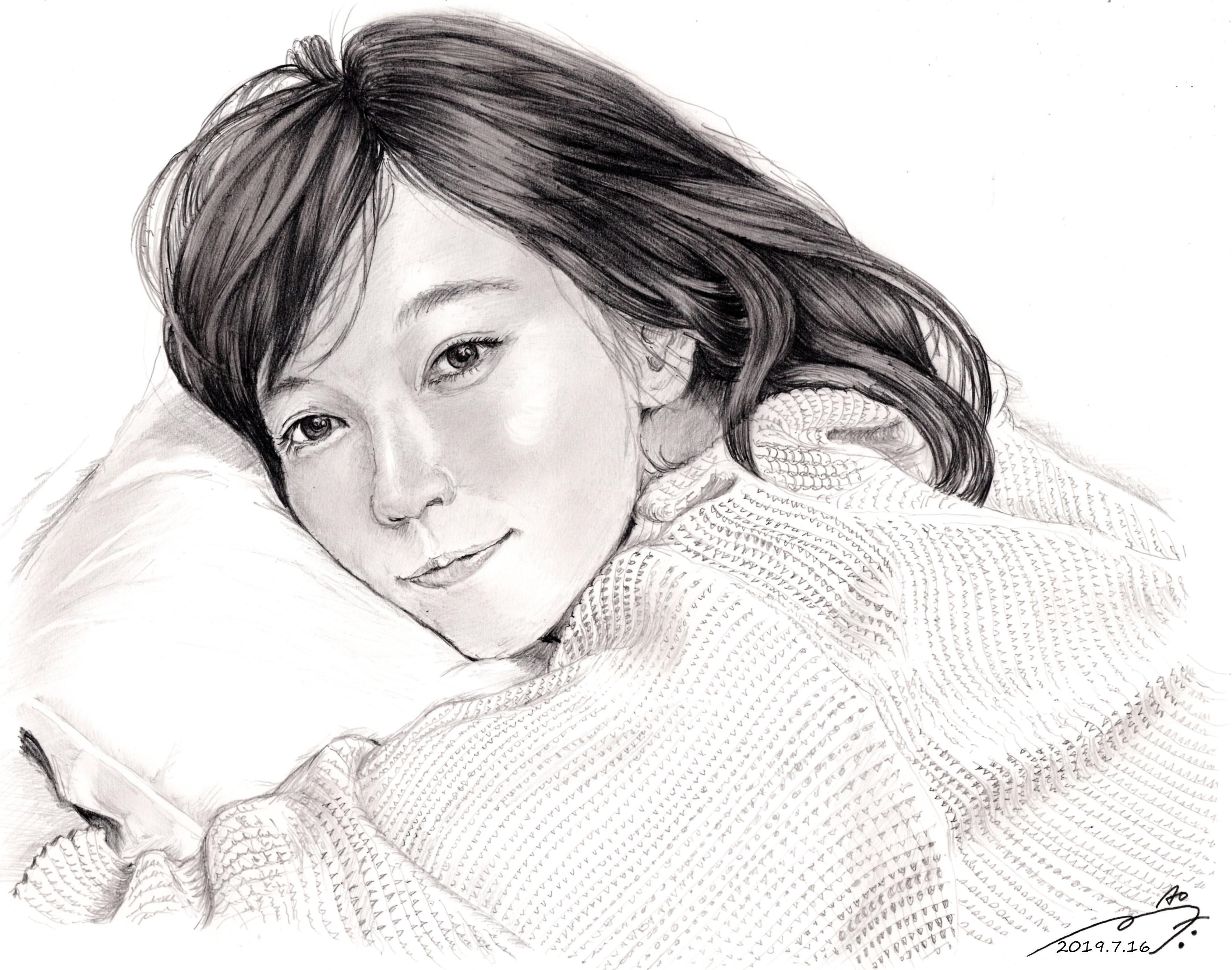 吉岡里帆鉛筆画似顔絵