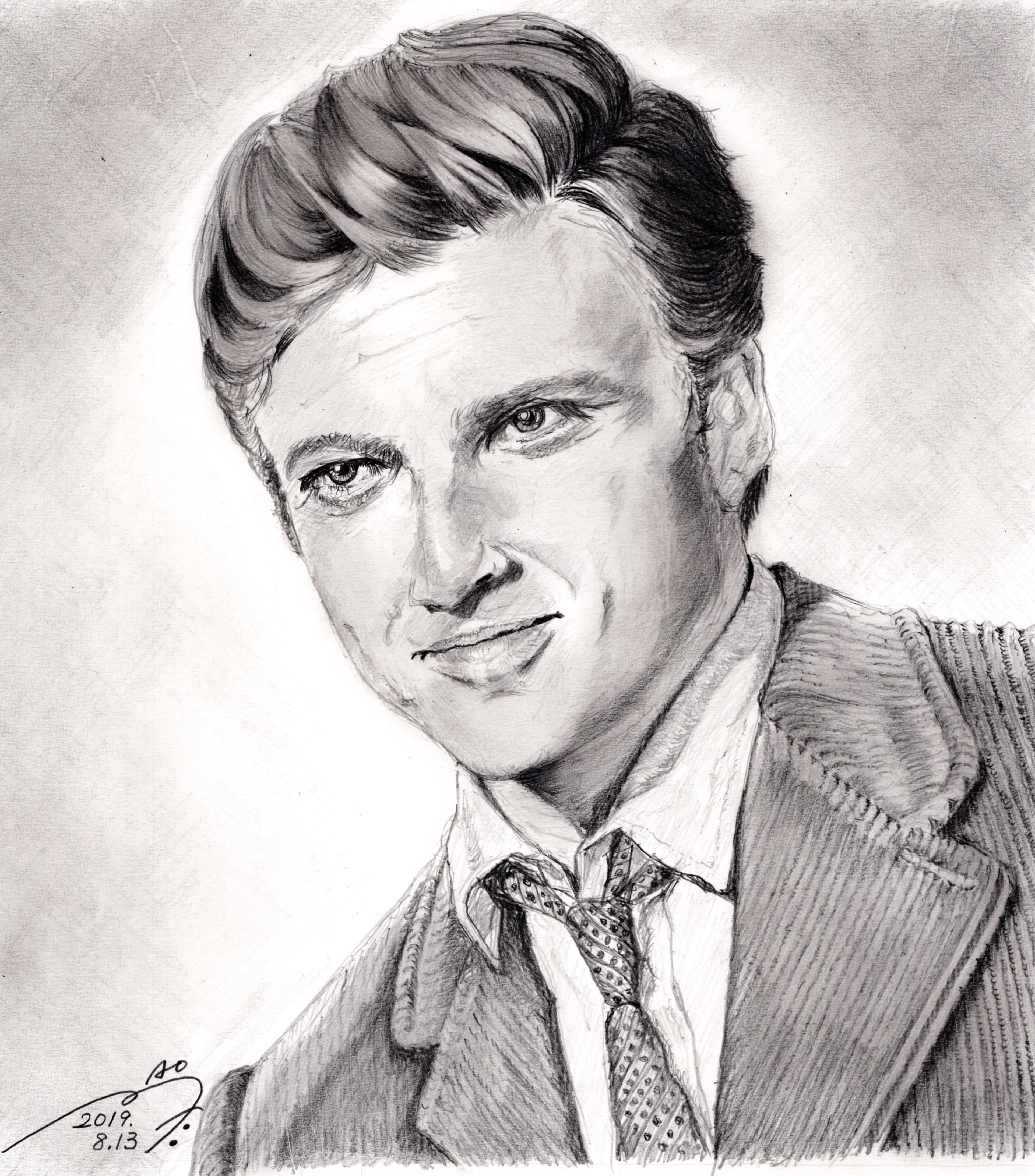 ロバートレッドフォード鉛筆画似顔絵