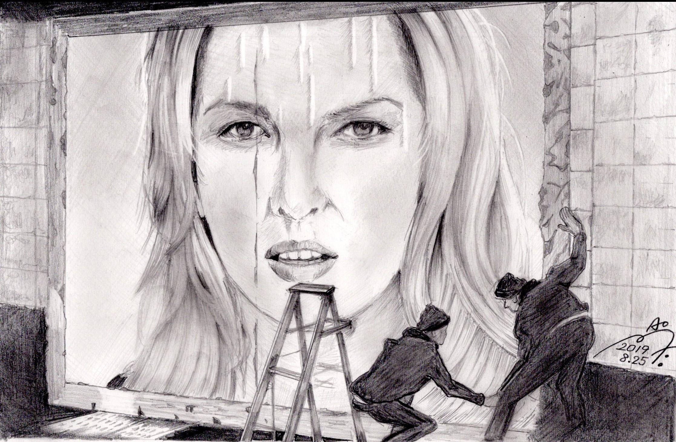 ダイアナクラール鉛筆画似顔絵