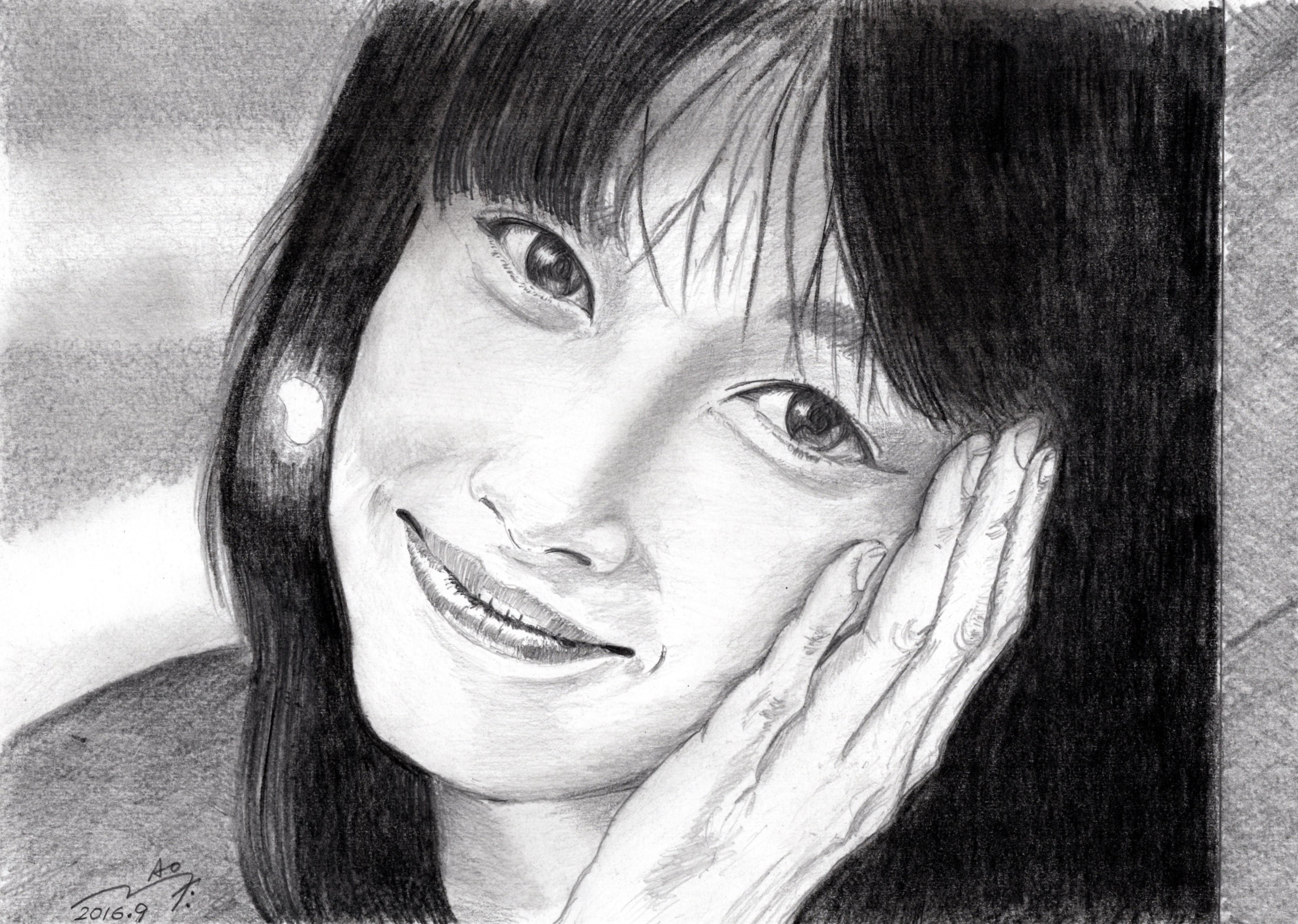 夏目雅子 鉛筆画似顔絵
